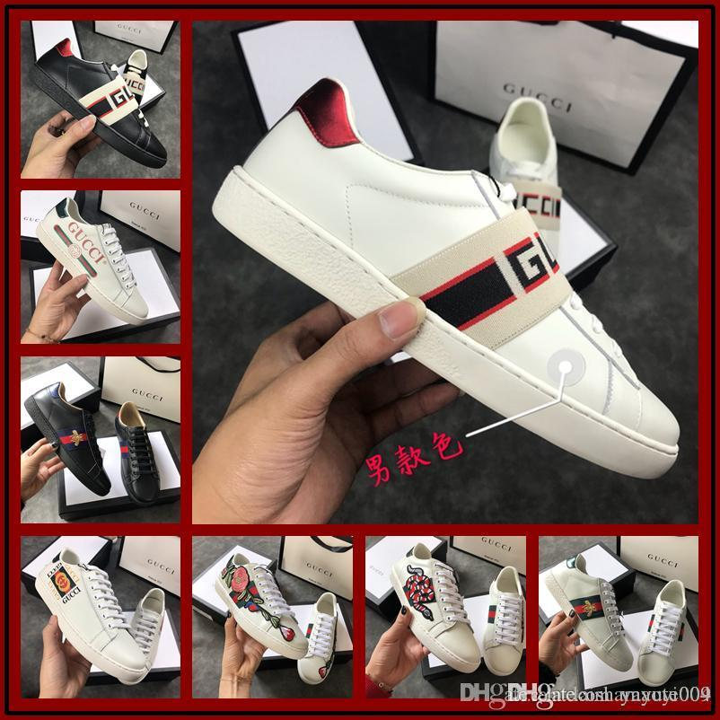 cd2ef4671e2 Best Men Women Designer Low Top All Red Leather Bee Embroidery Casual Shoes  Fashion Luxury Black White Brand Sneakers Size 38 44 Wholesale Shoes Cool  Shoes ...