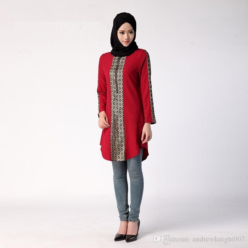 Мусульманин женщин Сыпучие вскользь Блуза Рамазан Специальный арабских женщин с длинными рукавами блузки вокруг шеи плюс размер Рамадана Арабские женщины рубашки DK730MZ