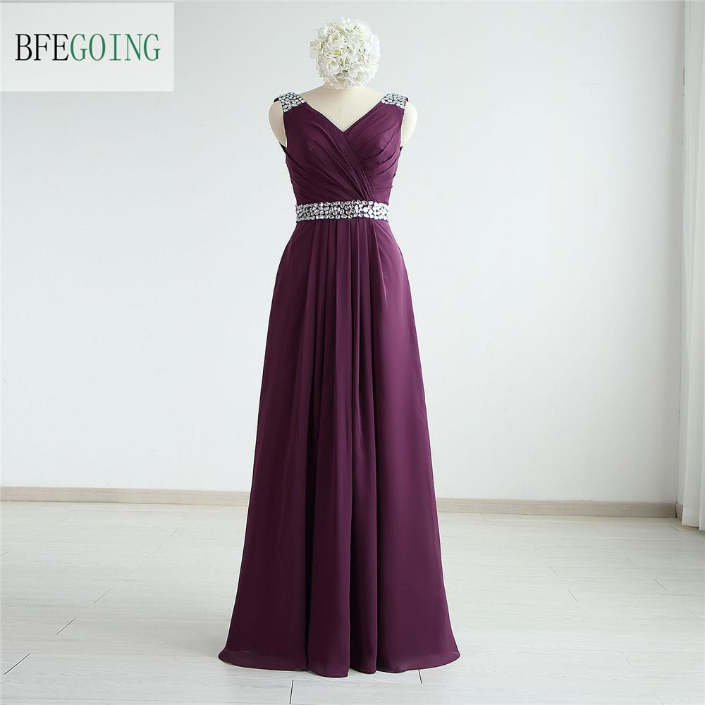 Grape Vintage Real Photos Sheath V-Neck Crystal Sashes Chiffon Pleat Evening Dress Lace Back Formal Dress Floor-Length Evening Gowns