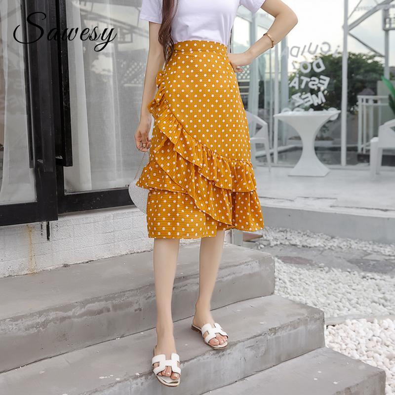 da5c3266c6c9 2019 Polka Dot Midi Skirt Women Fashion 2018 Yellow Black Ruffle Chiffon  Skirts Women High Waist Korean Style Casual Summer Skirts From Dolylove, ...