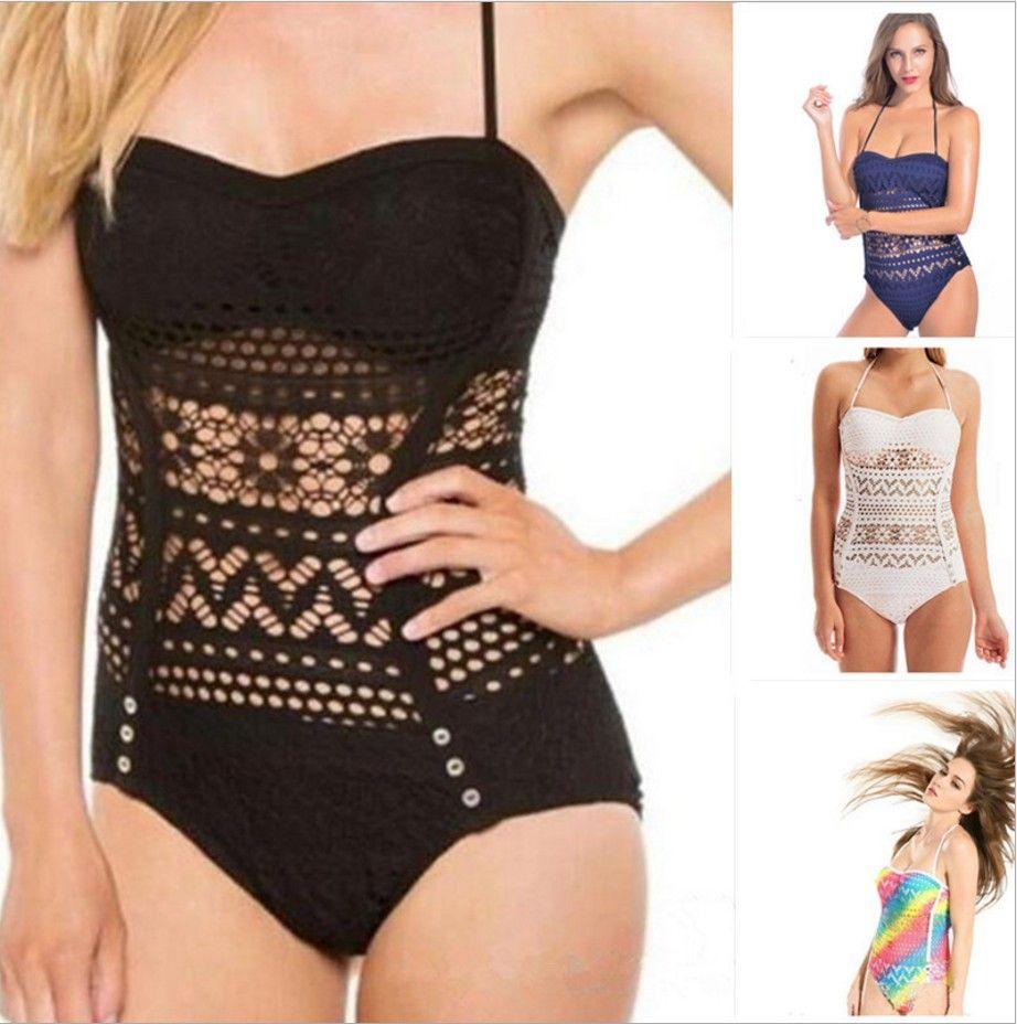 2019 2018 Crochet Swimsuit Black Bikini Monokini Bandage Swimwear