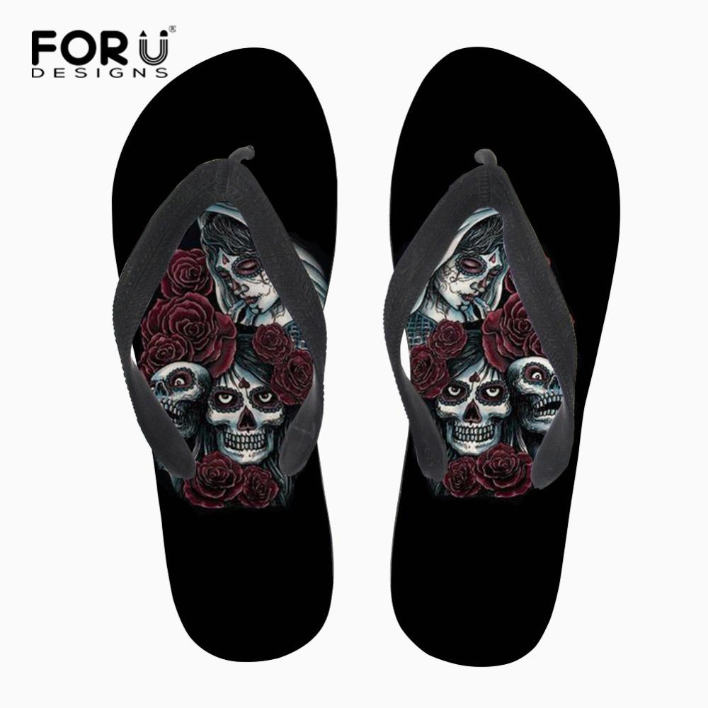 ce96360d14f Wholesale Black Classic Skull Slippers For Women Rubber Summer Beach Flip  Flops Personalized Home Flat Flipflops For Ladies Bearpaw Boots Silver  Shoes From ...