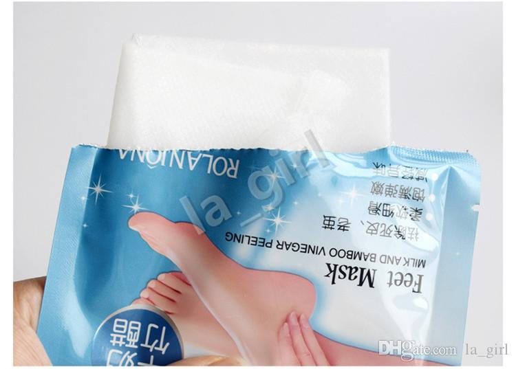 Rolanjona Milk Bamboo Vinegar Peeling Foot Mask Remove Dead Skin Professional Tendering Feet Sox Foot Care