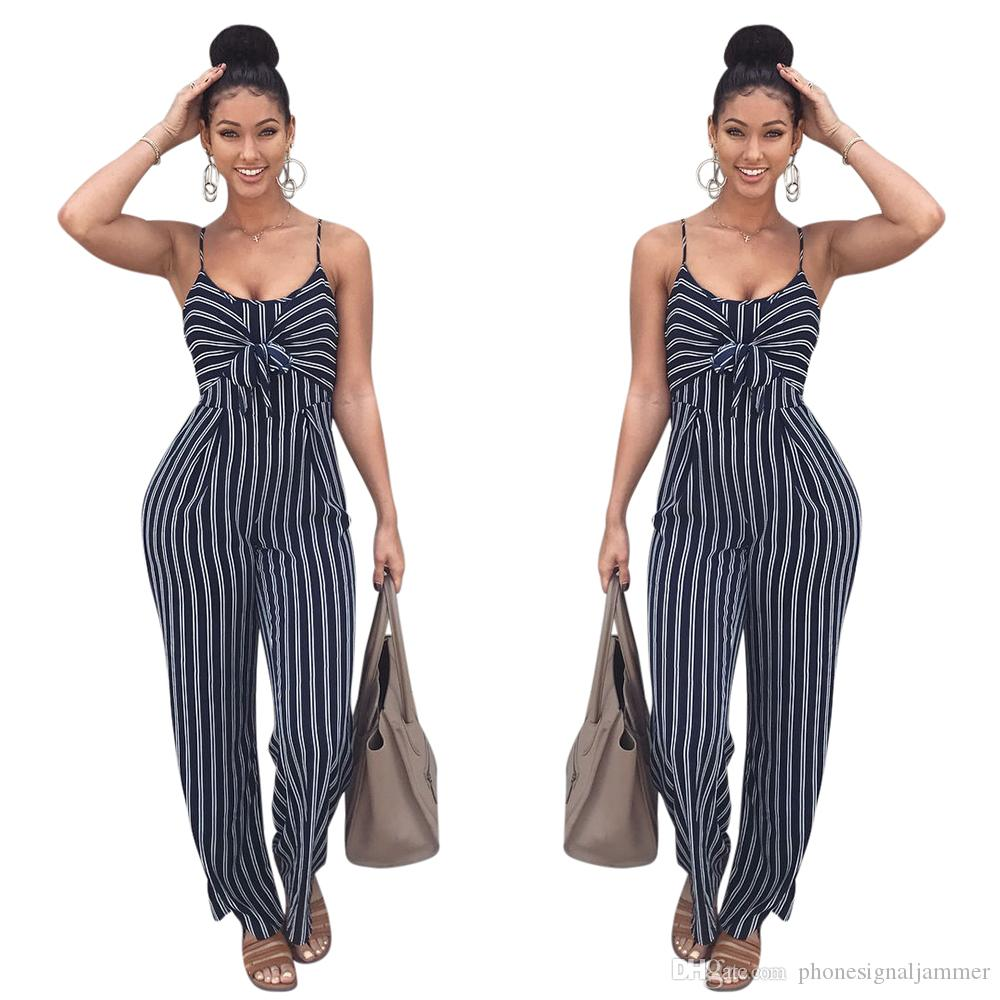 95760f0b8161 2019 Jumpsuit Women Halter Sleeveless Stretch Wide Long Pants Casual  Jumpsuit Rompers Spaghetti Strap Sexy Jumpsuit Rompers From  Phonesignaljammer