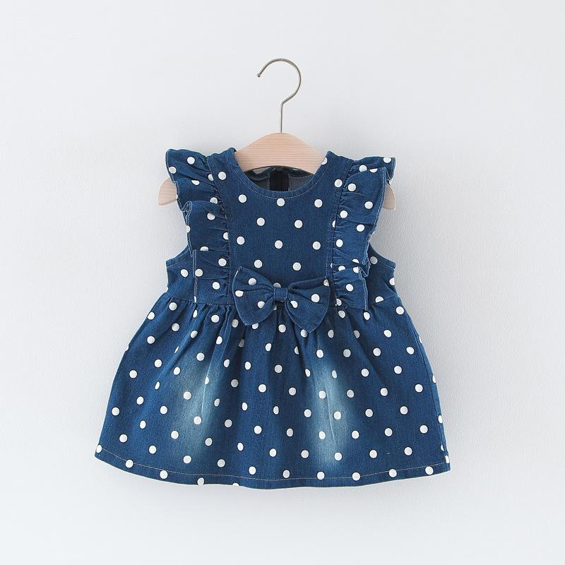 07639ff4c8400 BNWIGE Baby Girl Dress Summer Dot Bow Cotton Dress Baby Denim Clothing  Baptism Princess Dresses Girl Birthday Clothes