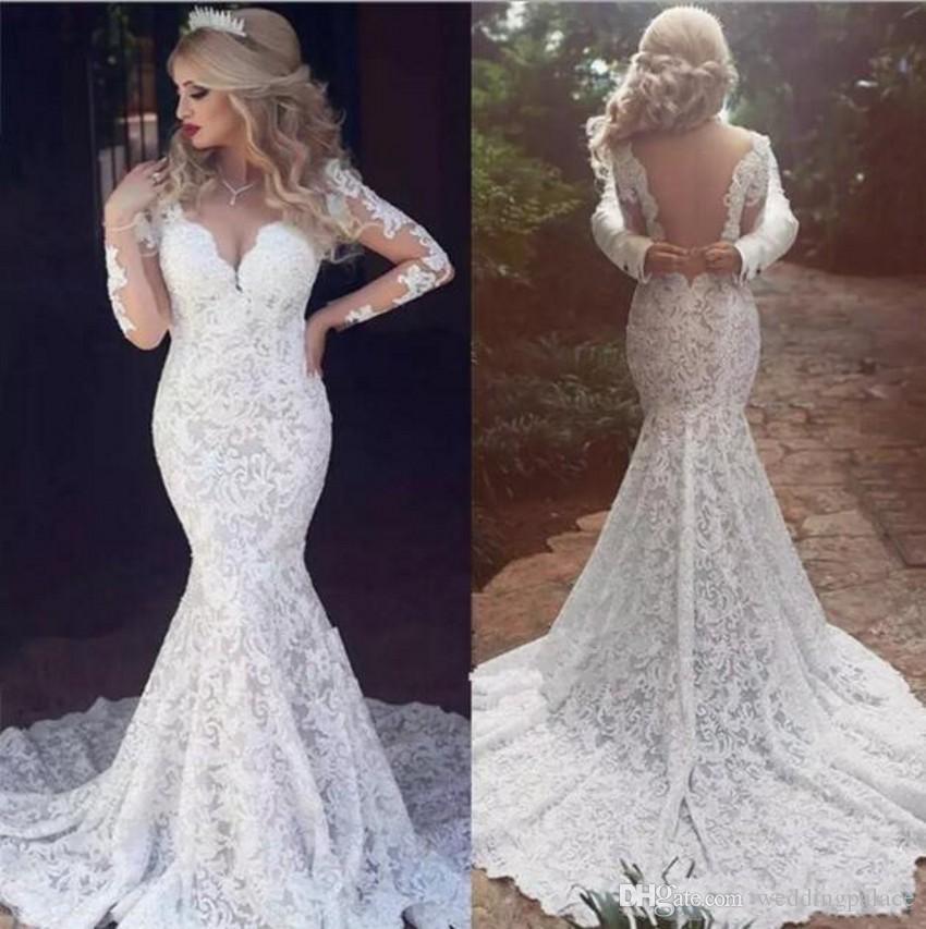 2390c913e46e Vintage Full Lace Arabic Dubai Wedding Dresses Sexy Open Back V Neck  Classic Bridal Gowns Long Sleeves Wedding Gowns Wedding Dress Pictures Wedding  Dress ...