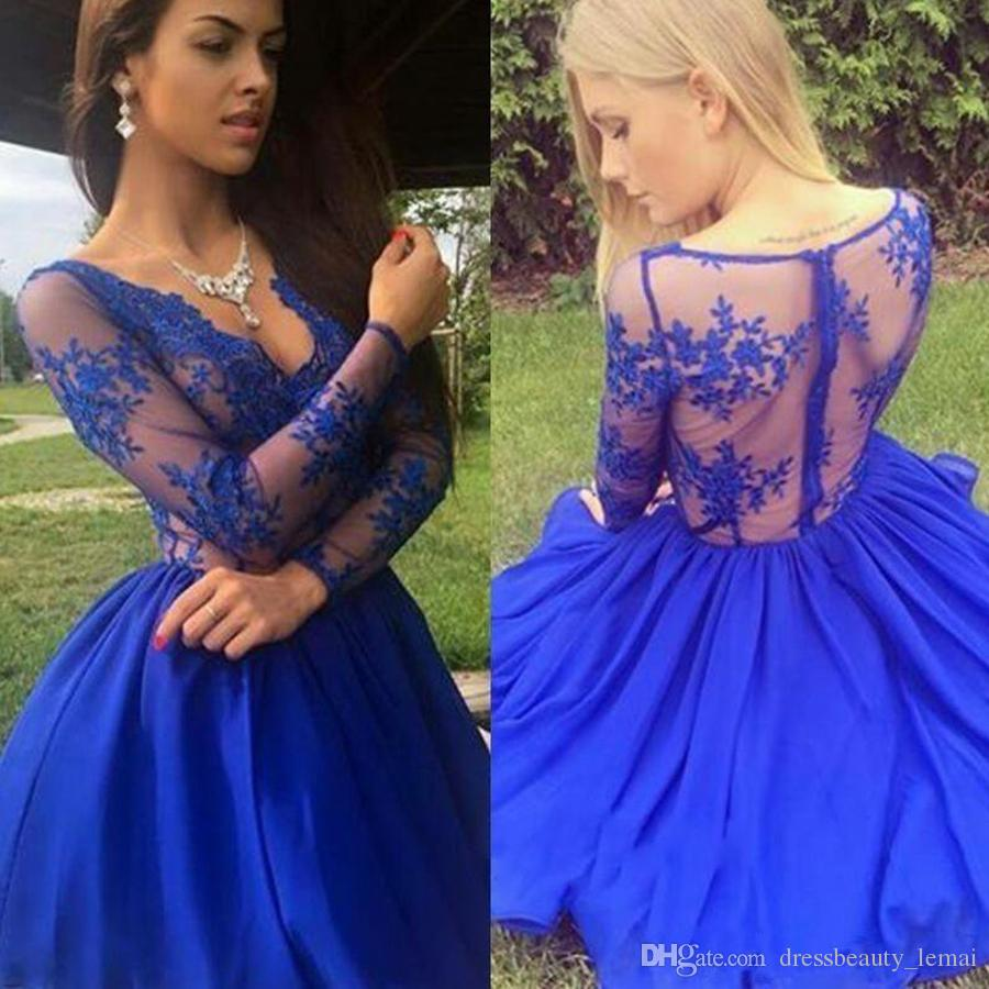 ee434818e61 2018 New Sheer Long Sleeves Royal Blue Homecoming Dresses A Line Lace  Appliques V Neck Short Cocktail Dress Mother Gowns Fast And Free Shipping  Homecoming ...