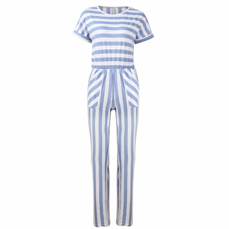 60b8cdd3e59a Women Striped Print Short Sleeve Jumpsuit Casual Clubwear Pants Polyester O  Neck Women S Zaful Harajuku Women S Set  71025 UK 2019 From Feiyancao