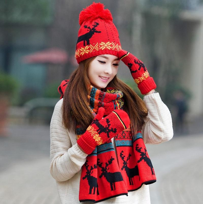 2019 Christmas Hat Scarf Gloves Sets Autumn Winter Women S Knitted Warm  Scarf Windproof Cute Multifunctional For Girls From Zhijin 75a367664d3