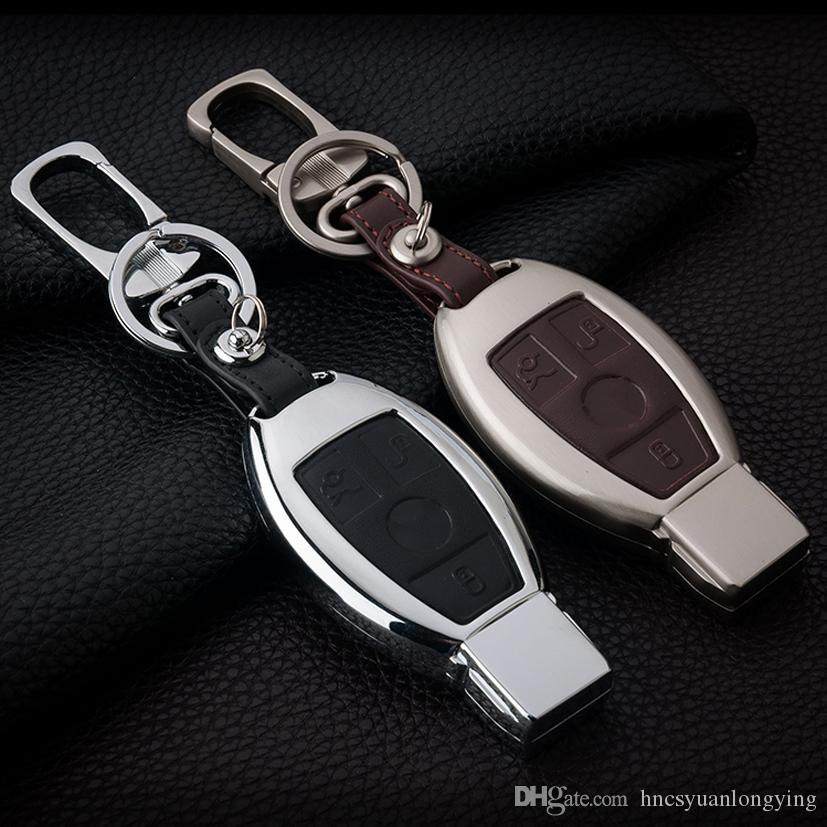Zinc Alloy Leather Car Key Cover Case Shell Bag For Mercedes Benz