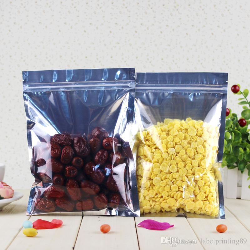 varie dimensioni sacchetto conservazione degli alimenti serratura transluent e argento zip chiaro su alluminio mylar frontale foglio fagiolo del caffè sacchetto astuccio con cerniera
