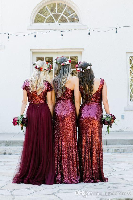 New Dark Red Sequined Bridesmaids Dresses 2018 Mixed Style Pleats A Line Floor Length Country Beach Maid Of Honor Party Prom Gowns Cheap