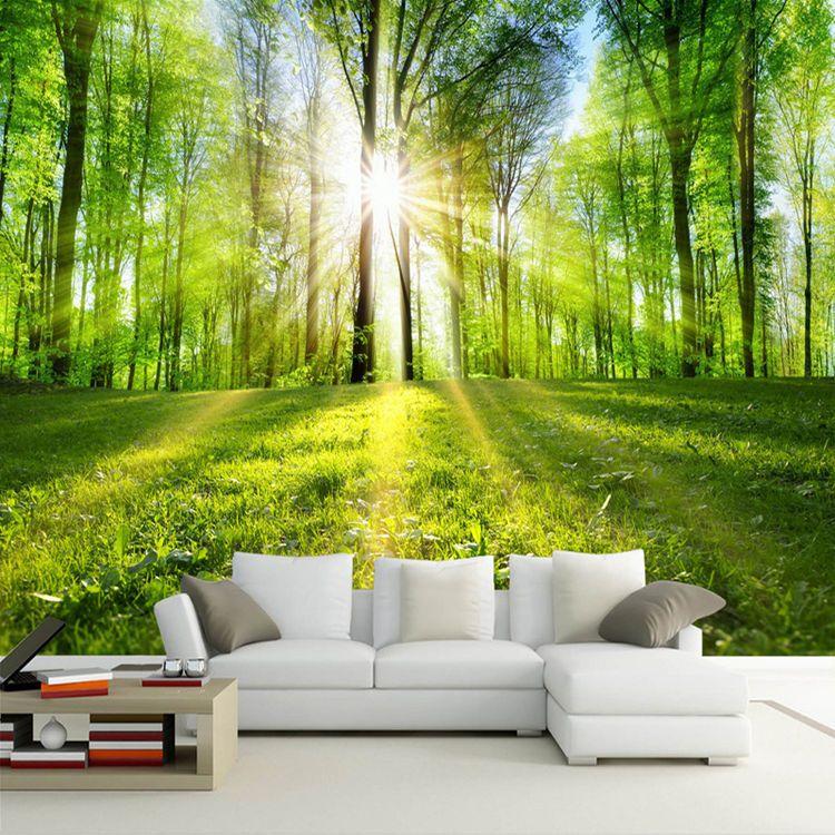 Satın Al özel Duvar Kağıdı Sunshine Orman Doğa Manzara Duvar Boyama