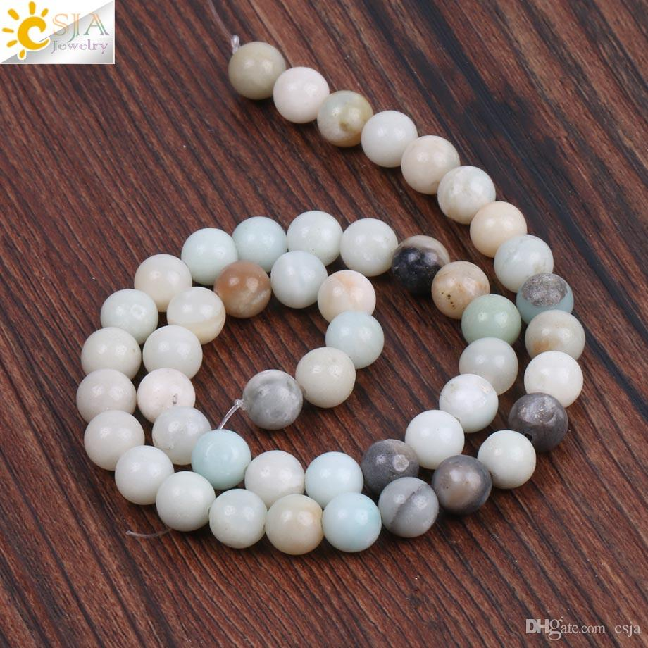 CSJA 2018 8mm Round Natural Stone Loose Beads Two Hole Multi-color Amazonite Bead for DIY Bracelet Necklace Jewelry Making Wholesale F227