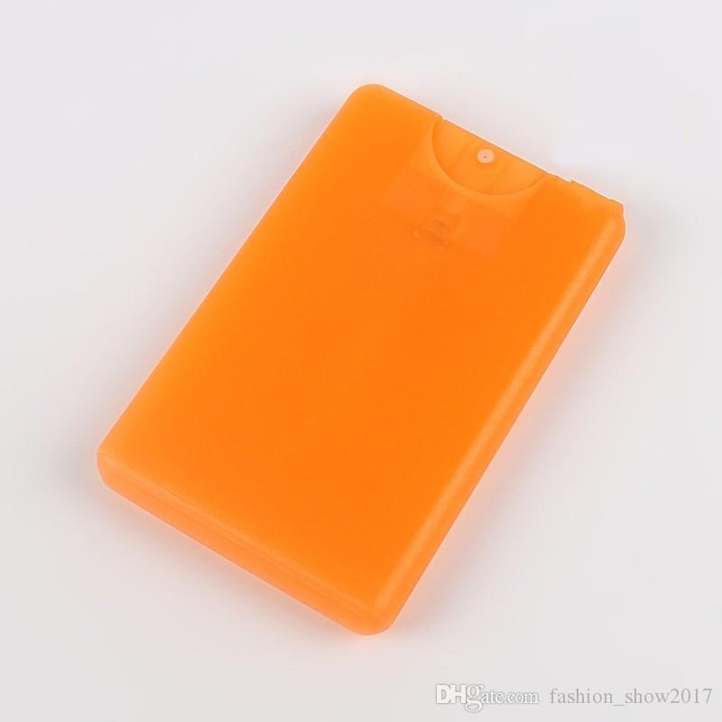 최신 20 ml 향수 여자에 대 한 플라스틱 신용 카드 모양 포켓 크기 플랫 스프레이 병 화장품 일회용 원자 거품 뚜껑 항아리