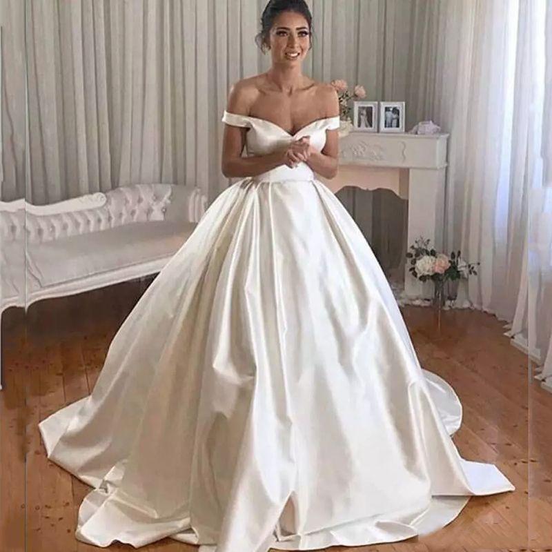 fda292038296 Acquista Abiti Da Sposa Con Maniche A Palloncino Abiti Da Sposa 2019 Off  Sweep Train Satin Wedding Abiti Da Sposa Vestido De Novia A  143.72 Dal  Vikeydress ...
