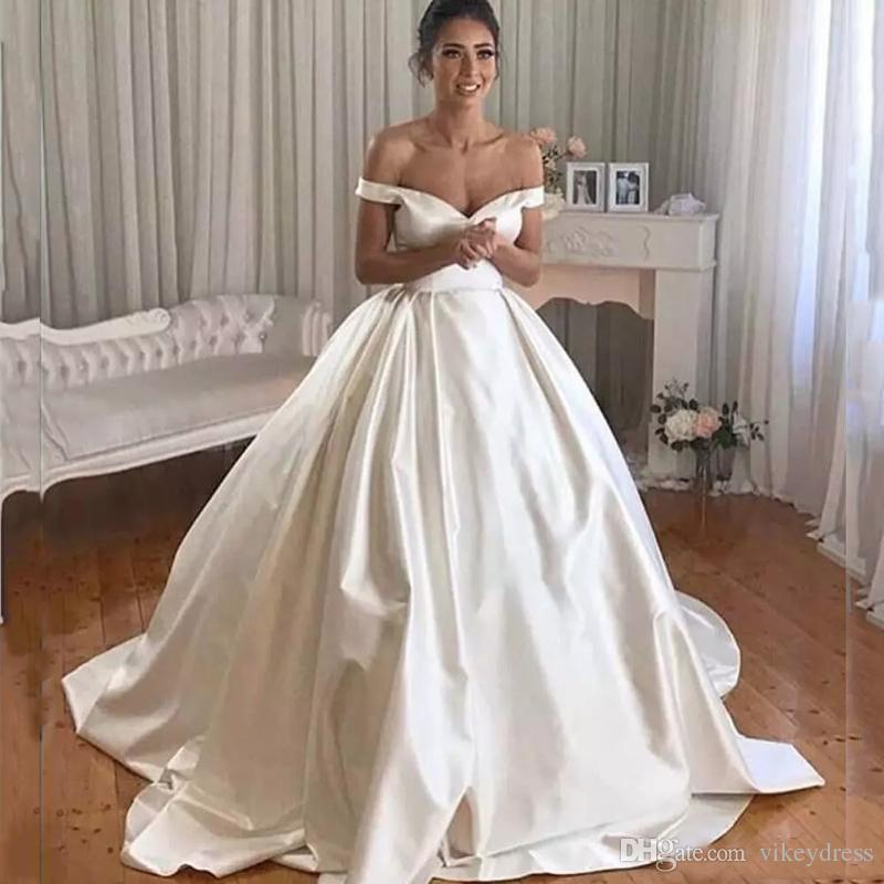 Cap Sleeves Ball Gown Wedding Dresses 2019 Off Shoulder