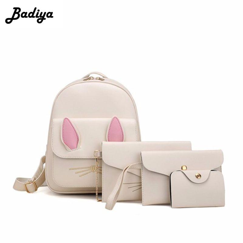 cb6d79fe95 New Small Women Rabbit Embroidery Backpack Female School Bag Teenager Girls  Black PU Leather Women Shoulder Bag Purse Rolling Backpack Toddler Backpacks  ...