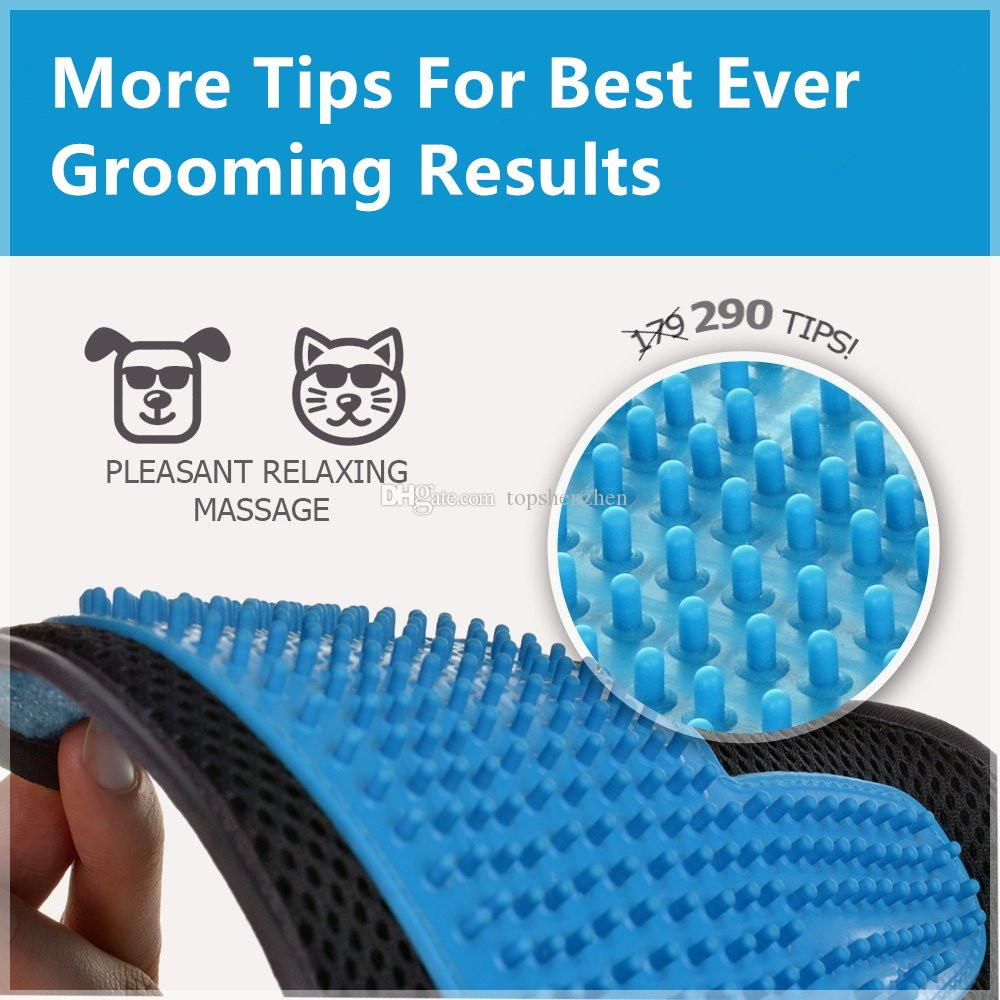 23.5x18cm 2in1 Pet Grooming Gloves Tool Furniture Pet Hair Remover Mitt Gentle Deshedding Brush Rubber Tips for Massage Foe Dog Cat
