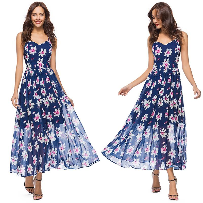 40895cafc8a37 Boho Maxi Dress with Floral Print Cross Spaghetti Strap Summer Fashion  Dresses for Ladies Beach Holiday Vacation Dress