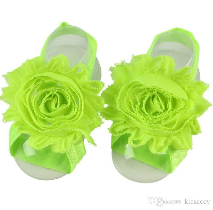 Baby Sandalen Blume Knöchelschmucksachen Barfuß Fuß Blumen Krawatten Infant Mädchen Kinder Erster Wanderer Fotografie Requisiten 24 Farben A138