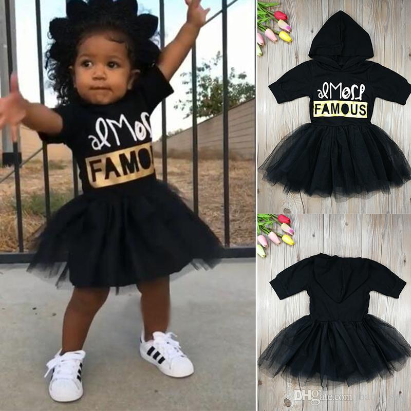 8419c79f7c Girls Dresses Summer Letter Print Hooded Tulle Tutu Skirt Baby ...
