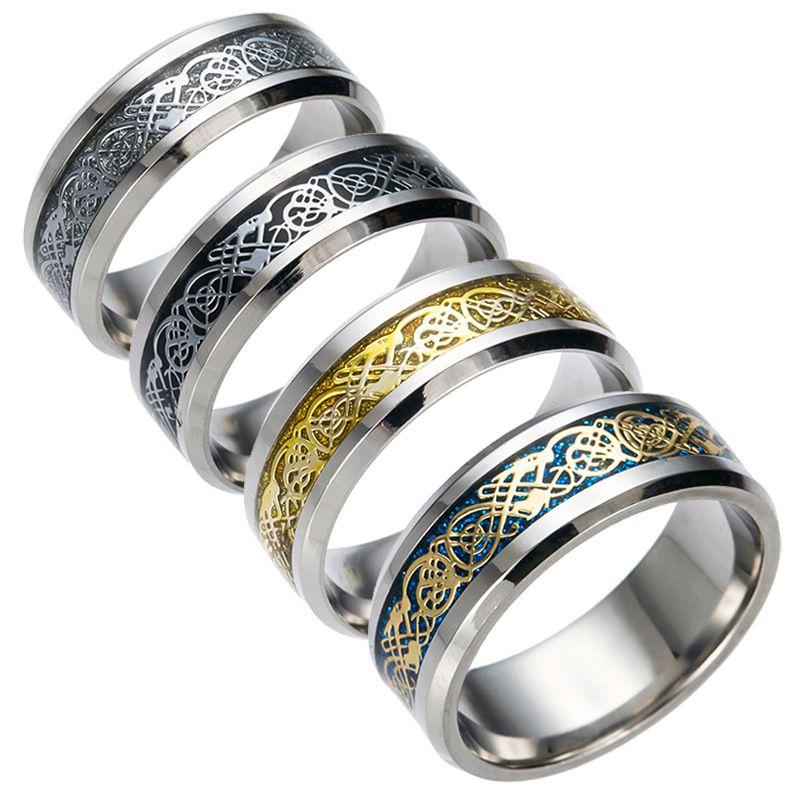 Jolie bague en acier inoxydable Mens bijoux Vintage Gold Dragon 316L pour hommes Seigneur Mariage Homme Bague de Luxe pour Amoureux Hommes Anneaux