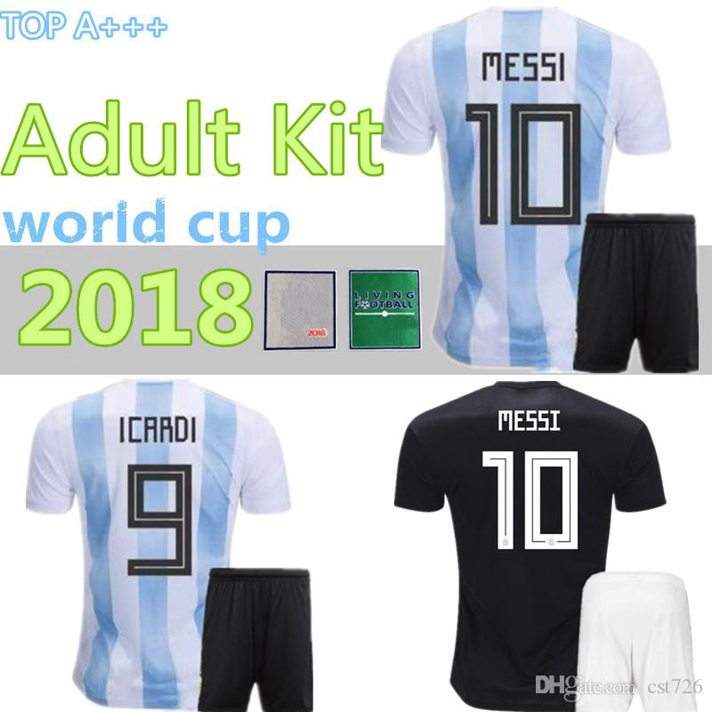 835e49fdc23 2019 MEN 2018 Soccer Jersey KITS Argentina World Cup MESSI DYBALA Argentina  Home Away AGUERO DI MARIA HIGUAIN 18 19 Football Shirts Free Patch From  Cst726