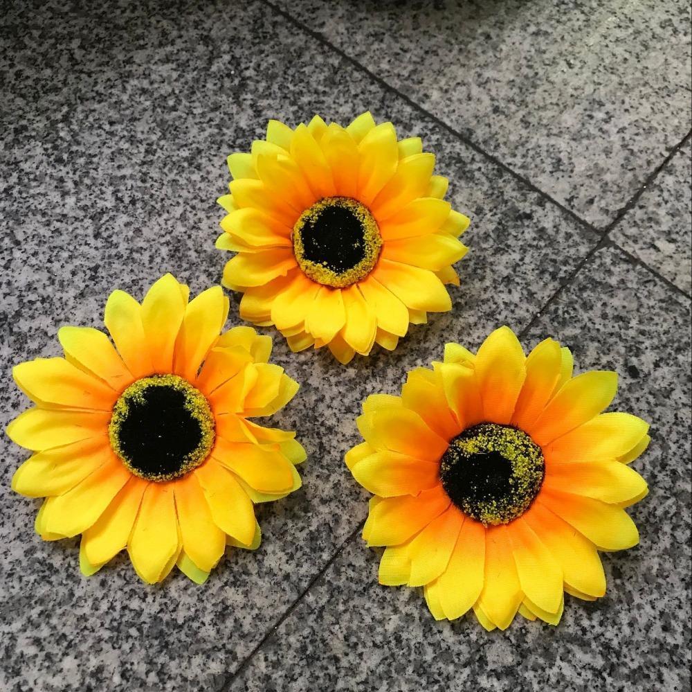10cm Silk Sunflower Heads Flowers Artificial Blooms To Make Pomander