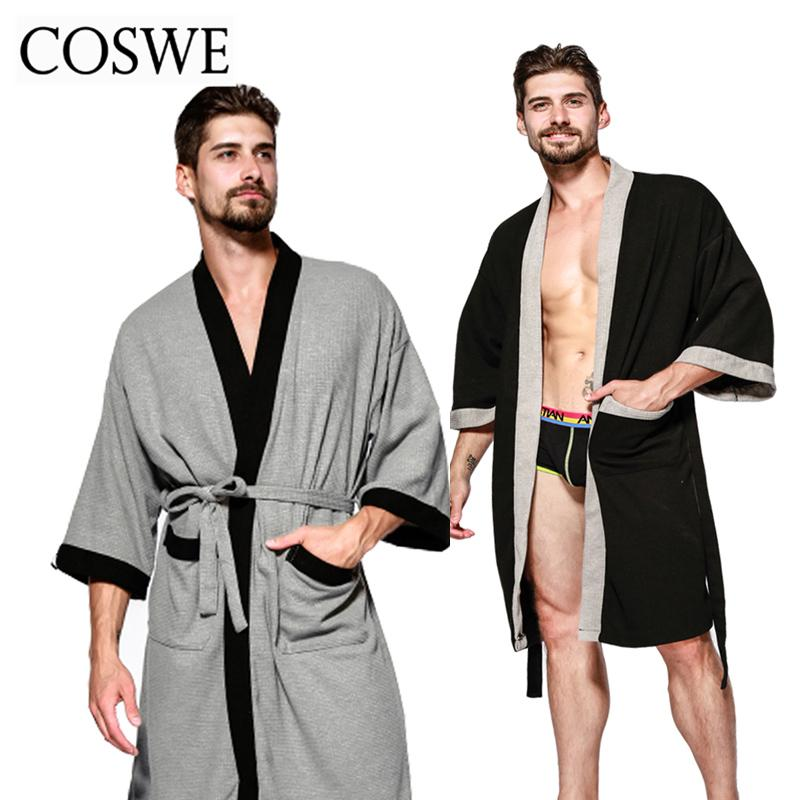 Wholesale COSWE New Cotton Men Robe For Mens Winter Robes Long Male Bathrobe  Pijamas Masculinos Bathrobes Man Nightwear Mans Dressing Gown UK 2019 From  ... fd80fa70f