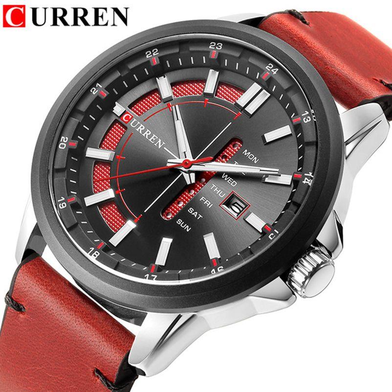 d9bd3f2db87 CURREN Brand Men S Sports Watch Men Casual Quartz Watches 30M Waterproof  Leather Band Calendar Clock Relogio Masculino Designer Watch Discount Watch  From ...