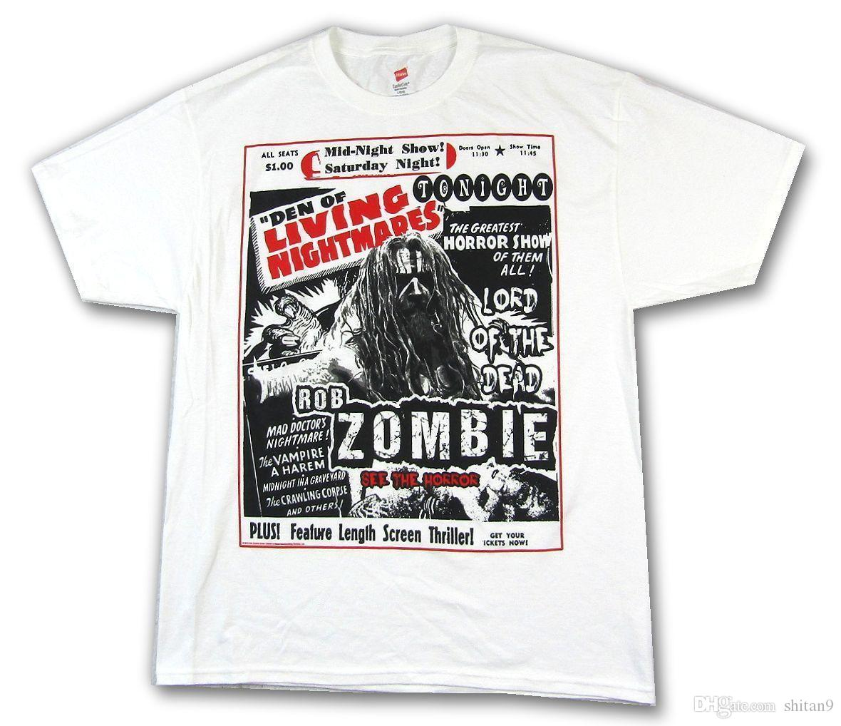 8aaaff43 Rob Zombie Den Of Living Nightmares White T Shirt New Official Mens ...