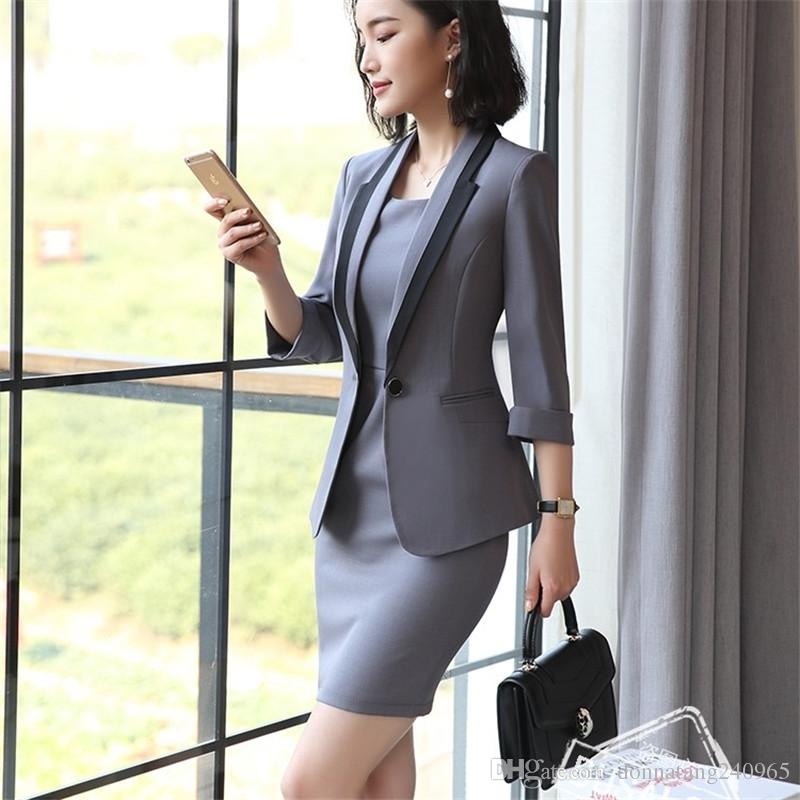 2019 Business Formal Women Dress Suit Summer Fashion Elegant Half