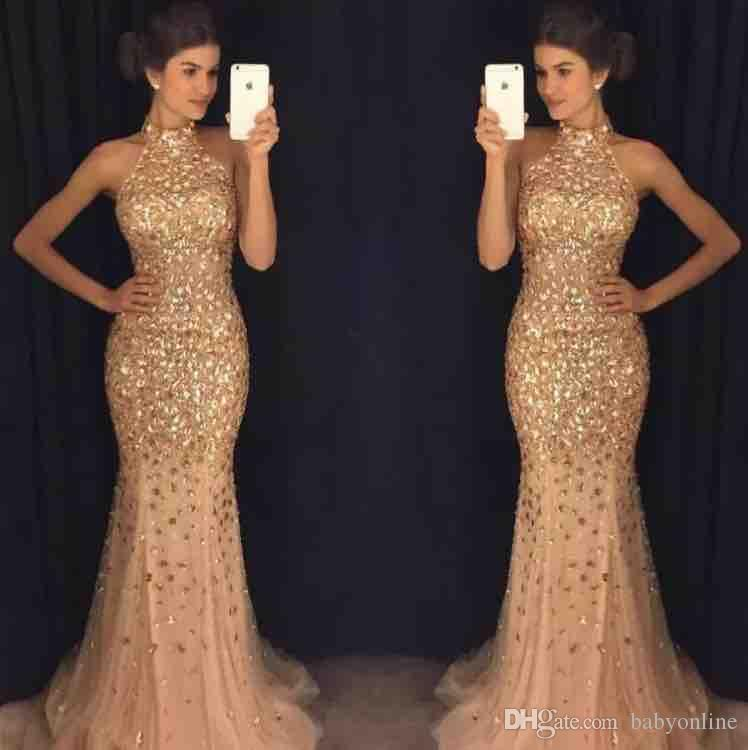 Luxury Majoring Beaded Gold Evening Dresses 2019 Sexy Halter Neck Mermaid  Sparkle Long Vestidos De Fiesta Prom Party Gowns Pageant Arabic Sexy Evening  Dress ... 4449b28606a3