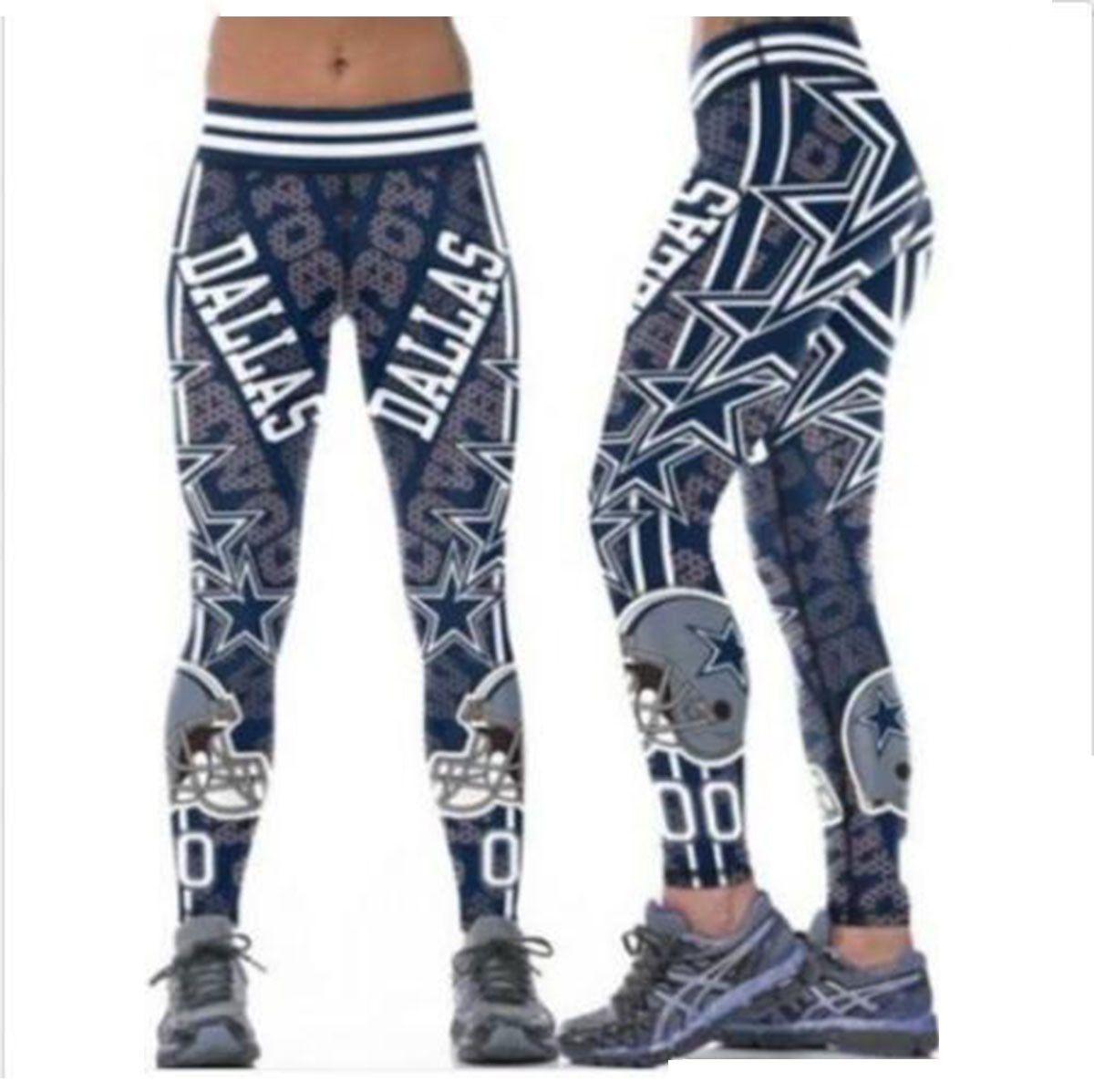 new concept 03b89 f9563 S-4XL Multi-Color Women Legging Dallas Cowboys printed high waist wide belt  running fitness tights yoga pants S-4XL