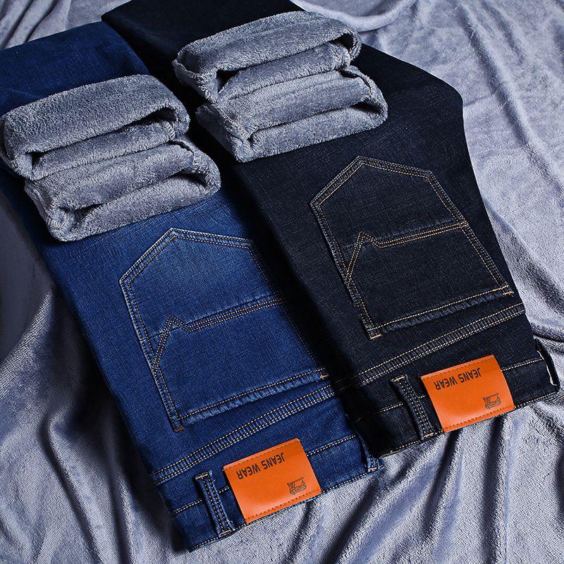 Compre Moda De Invierno Jeans Para Hombres Straight Fit Casual Estilo De  Negocios Grueso Caliente Jeans Hombres De Gran Tamaño Elegante Terciopelo  Fleece ... 1bd1ef383ee