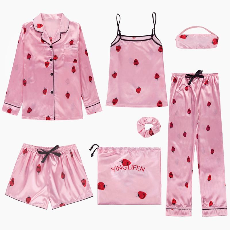 2019 Women S Lovely Pajama Set Pajamas Sets Satin Silk Lingerie Homewear  Sleepwear Strawberry Pink Pyjamas Set Pijamas Woman From Hibooth d56c6493e