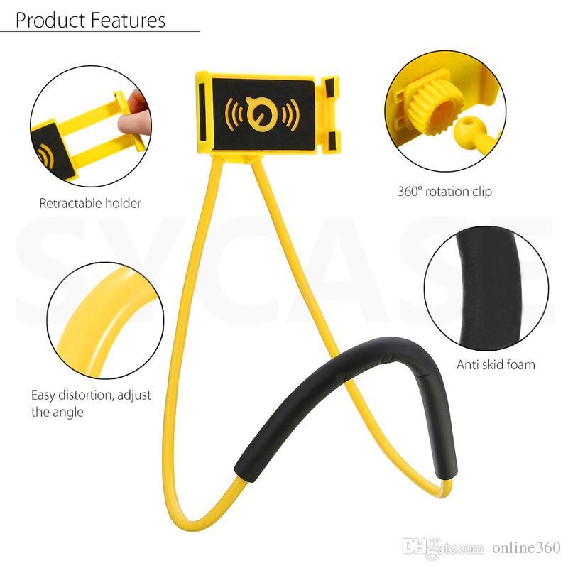 Tembel Dirsek Evrensel 360 Derece Rotasyon Esnek Cep Telefonu Boyun Asılı iPhone Samsung Android Için Tutucu Stand