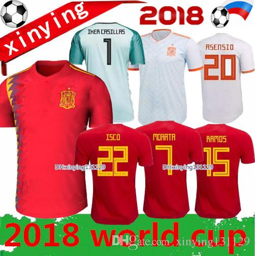 2018 2019 World Cup Spain Home Soccer Jersey 18 19 MORATA ISCO ... b5e92b3d3