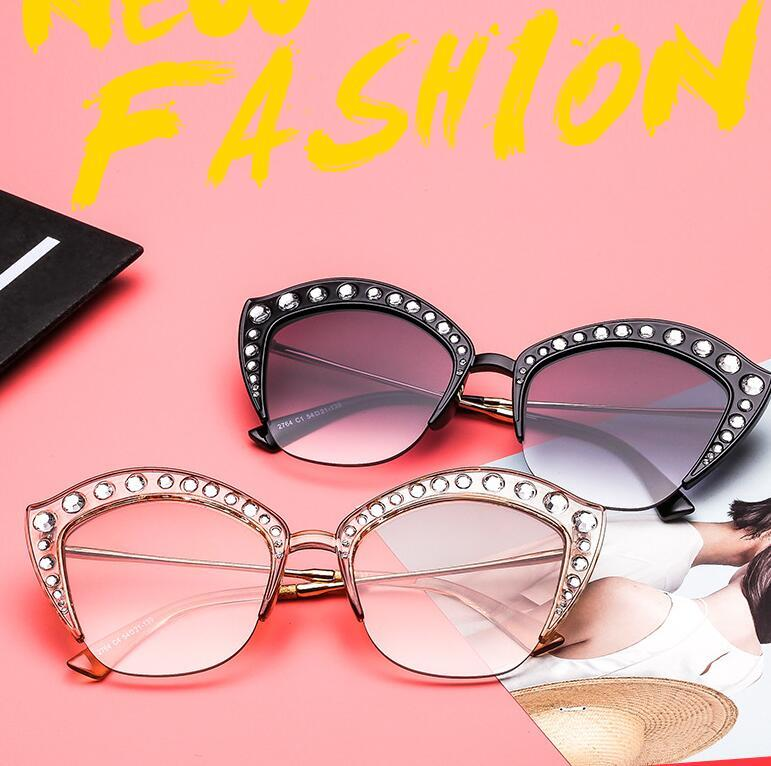 f59aa02be699 Hot New Women Rhinestone Half Frame Sexy Sun Glasses Best Luxury Designer  Ladies Shades Eyewear Glasses Cat Eye Sunglasses Wholesale Victoria Beckham  ...