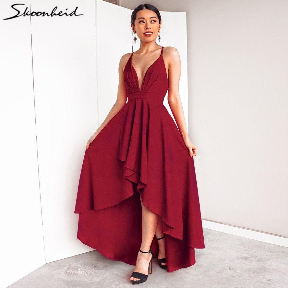 a949a336a68f Sexy Women Boho Maxi Club Backless Red Dress Bandage V Neck Elegant Long Dress  Vestidos Robe Femme Ete 2018 Dresses For Evening Party Party Formal Dresses  ...