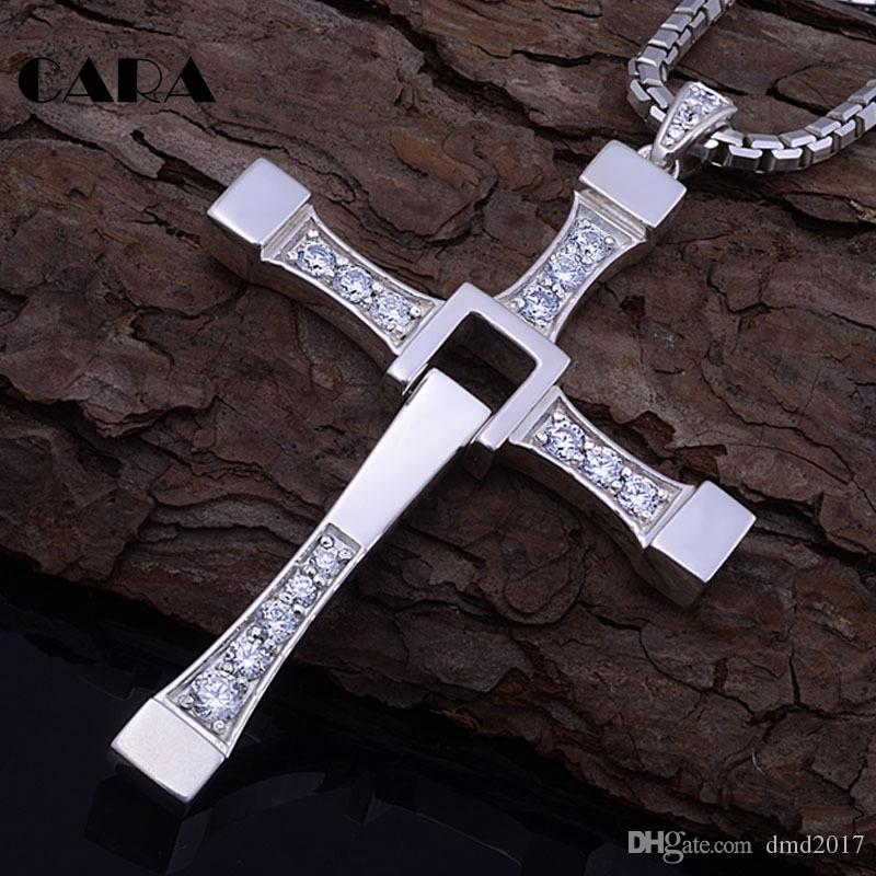 2018 New hip hop Fast and furious 8 necklace pendant Dominic Toretto cross Top 316L stainless steel with crystal pendant for men CAGF0128