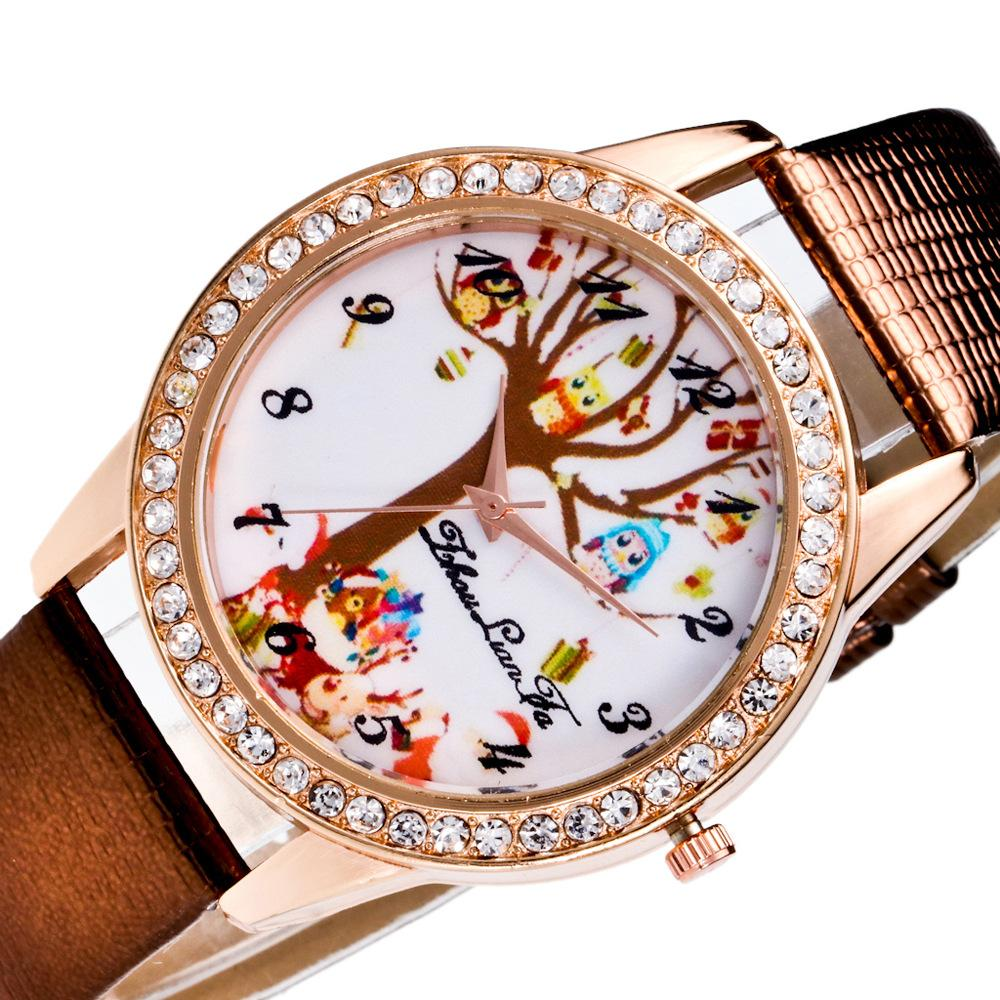 40c335d9555 Wishing Tree Pattern Relogio Digital Scale Rose Gold Diamond Alloy Dial  20mm Leather Band Child Student Sports Quartz Watch C124 Wrist Watches  Online ...