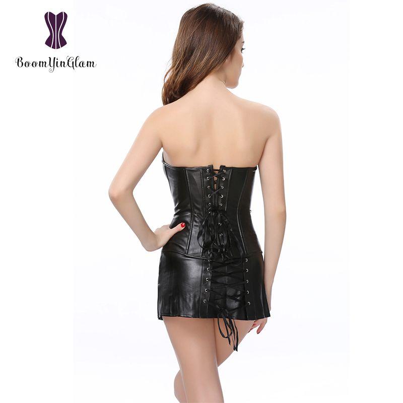 844 # 치마 섹시한 코르셋 복장을 가진 고품질 플러스 크기 XXXXXXL corselet 검정과 빨강 합성 가죽 코르셋