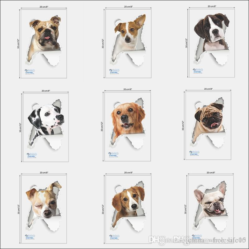 3d View Dogs Wall Hole Stickers For Toilet Bathroom Kids Rooms Decorations Pvc Home Decor Refrigerator Car Mural Art Decals Decorative Clings