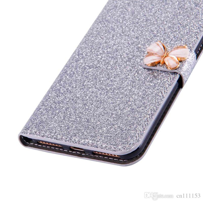 Case For Huawei P8 Lite2017 P9 Lite2017 P8 Lite P9 Lite P8 Glitter Shine and Butterfly Card Holder Wallet Full Body