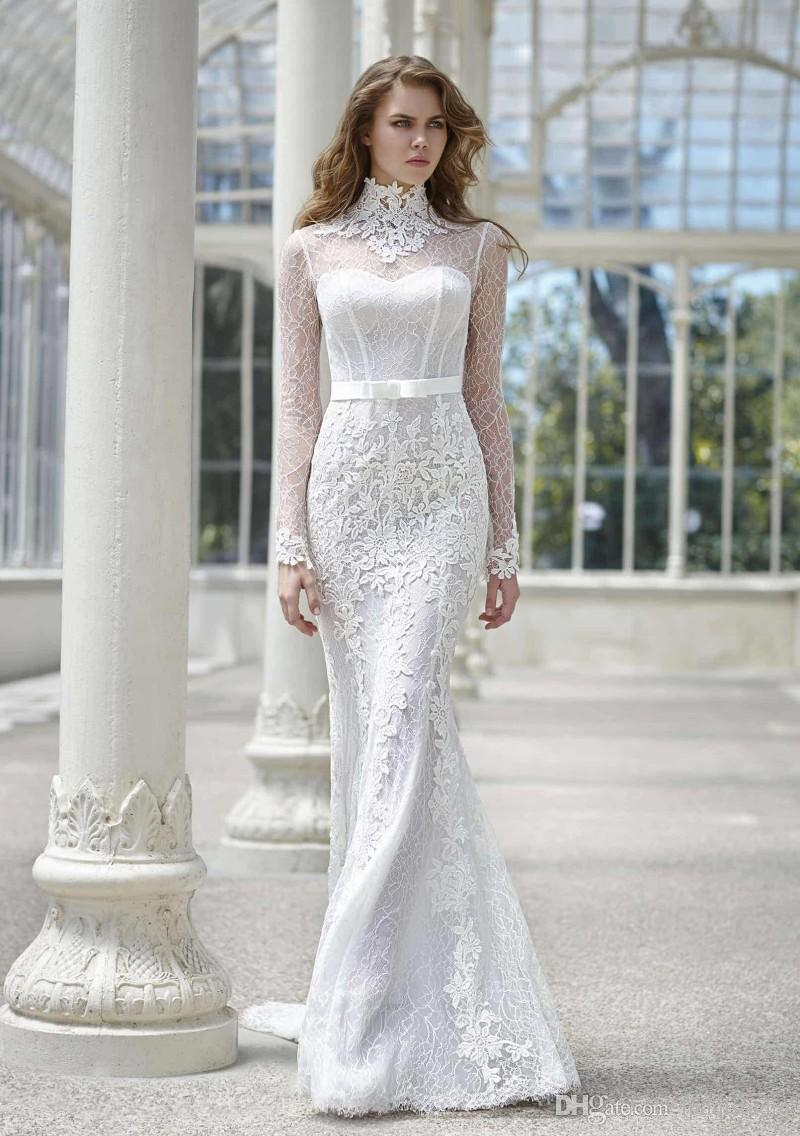 Stunning Lace Mermaid Wedding Dresses Long Sleeves Buttons Back Sweep Train  Lace Bridal Gowns European Style Elegant Wedding Dresses Corset Mermaid ...