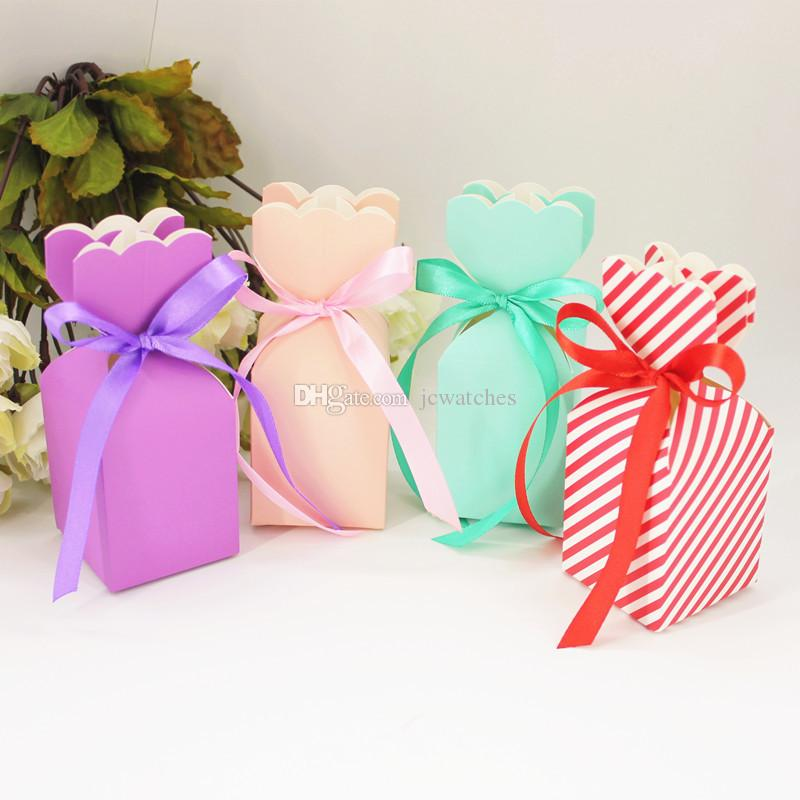 Vase Flower Candy Chocolate Box with Ribbon Wedding Party Birthday Baby Shower Favors Gifts Box