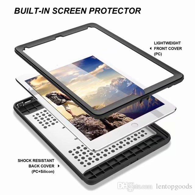 Armor Hybrid Cover Holder for ipad 6 Pro 9.7 New ipad 9.7 TPU+PC Cover for ipad Mini 1 2 3 4+Stylus