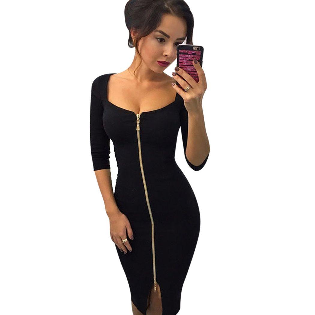 2018 Bodycon Sheath Dress Little Black Three Quarter Sleeve Party ...